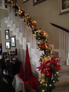 Staircase Garland Add Bit Of Pseudo Greener And Some Clear Lights To Your Holiday