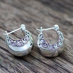 Bali Silver Half Moon Hoop Earring #ER008 by JayamaheBali on Etsy