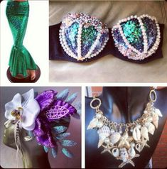 mermaid costume crafts | Mermaid--(love the necklace-L) | Mermaid Makeup, Hair ...