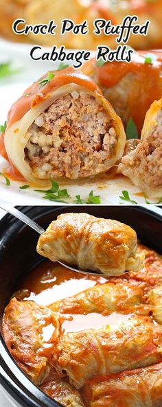 Crock Pot Stuffed Cabbage Rolls Stuffed Cabbage Casserole, Stuffed Cabbage Crockpot, Stuffed Cabbage Recipes, Cabbage Rolls Stuffed, Stuffed Food Recipes, Crockpot Cabbage Recipes, Polish Stuffed Cabbage, Slow Cooker Cabbage Rolls, Fried Cabbage Recipes
