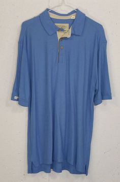 Tehama Green Mens 50% Pima Cotton 50% Bamboo Blue Short Sleeve Polo Shirt Large #Tehma #PoloRugby