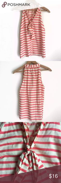 J. Crew Silk Striped Tank Pink striped J. Crew tank with attached tie and buttons in the front. 100% silk, size 0. J. Crew Tops Tank Tops