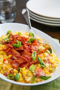 Creamed Corn with Roasted Red Peppers and Bacon - Simply yummy! Bacon Recipes, Side Dish Recipes, Veggie Recipes, Cooking Recipes, Cooking Corn, Healthy Recipes, Thanksgiving Recipes, Fall Recipes, Easter Recipes