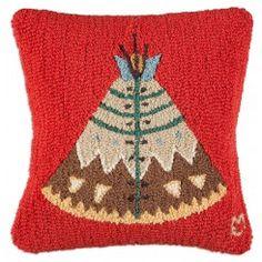 "Teepee II 18"" Hand-Hooked Wool Pillow"