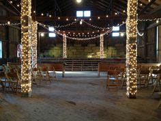 Ready for the guests of honor! Custom lighting design and installation by Lilypad Wedding + Events
