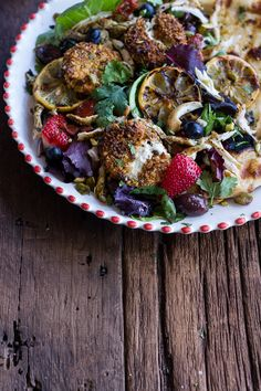 Moroccan Chicken Salad with Pistachio Crusted Fried Goat Cheese + Garlic Naan | halfbakedharvest.com