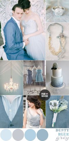Dusty Blue, Grey & white Winter Wedding Inspiration