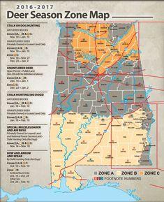 Alabama Hunting Laws Deer Season Map   http://guncarrier.com/alabama-hunting-laws-regulations/