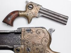 Marston Three Barrel Derringer - About 1,500 derringers in .22 caliber were produced by William W. Marston of New York City from 1858 to 1864. His design included two unusual features: a selector switch to choose which barrel to fire and lso a sliding knife that mounted on the side of the barrels. While our example is missing the blade (anybody got a spare?), our selector still functions normally and is set up for barrel #2 at present.