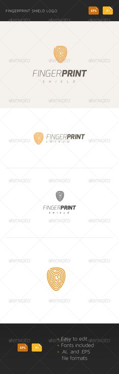 Fingerprint Shield - Logo Design Template Vector #logotype Download it here: http://graphicriver.net/item/fingerprint-shield-logo/6021844?s_rank=1745?ref=nesto