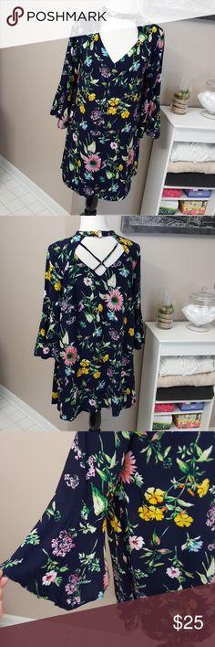 Blue floral choker neckline dress Good condition entro Dresses Mini