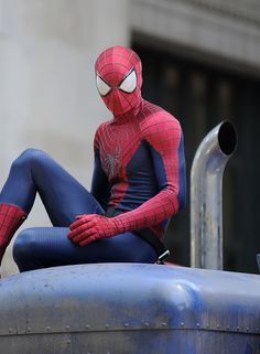 Spiderman films scenes for the upcoming movie, 'The Amazing Spiderman 2', at Greenwich Village in New York City. (June 22, 2013)