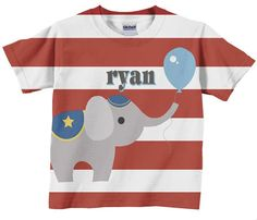 Circus Birthday Shirt,  Personalized Carnival Elephant T-Shirt, Childrens Clothing. $24.95, via Etsy.