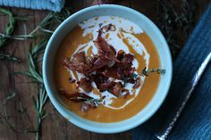 Herbed Pumpkin soup with crispy proscuitto recipe