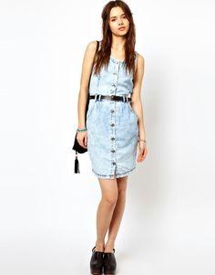 Simple acid wash jean dress