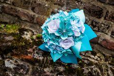 Origami bruidsboeket  #turquoise #origami #wedding #flowers #bruidsboeket #diy