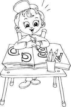 schoolgirl painting at desk coloring page | *♧* Busy Kids ...