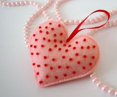 Hanging felt heart  pink with red glass seed by TheFrenchKnots, $5.50