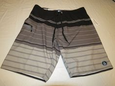Men's Volcom Mod Tech Sas Baia Park black stripes board shorts surf swim NWT 28 #Volcom #BoardSurf