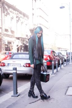 green and leather outfit  #rock #look #turquoise #hair #leather #evasplace