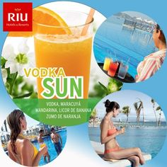 Vodka Sun - a bracing cocktail with Vodka, passion fruit, mandarin, banana liqueur and orange juice. Vodka Sun - un cóctel refrescante con Vodka, maracuyá, mandarina, licor de banana y zumo de naranja.