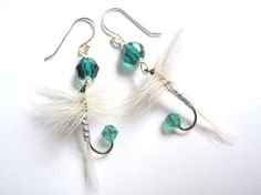 fishing lure earrings | Green and White FIshing Lure Earrings by Raynecloud on Etsy