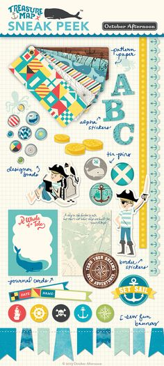 Here is October Afternoon's new line Treasure Map!  It is so stinkin CUTE that I had to pin it!