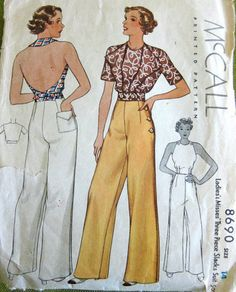 McCall 8690 circa 1936 Three Piece Slacks Suit ~ Sailor pants Not crazy about the pants for but I do like the idea of the halter with a short jacket. Moda Vintage, Vintage Mode, Vintage Outfits, Vintage Pants, Vintage Dresses, 1970s Dresses, 1930s Fashion, Retro Fashion, Vintage Fashion