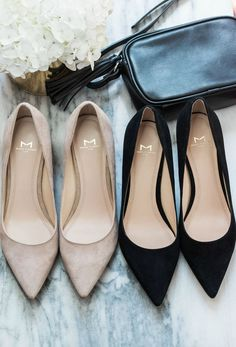 Looking for the perfect pair of pumps? I'm head over heels in love with the Marc Fisher LTD Zala Pumps in nude suede and black suede from Zappos! See these timelessly elegant pumps styled in two ways by Orlando, Florida fashion blogger Ashley Brooke Nicholas when you click through this pin! #sponsored #Zappos #StepIntoFall | best shoes, best heels, cute black heels, cute nude heels