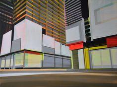 "Cécile van Hanja; Acrylic, 2010, Painting ""surrounding buildings"""