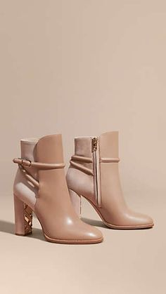 Light nude Strap Detail Leather and Suede Ankle Boots - Burberry - Ivonne - Damenschuhe Suede Ankle Boots, Leather Boots, Heeled Boots, Bootie Boots, Shoe Boots, Shoes Heels, Ankle Booties, High Heels, Boots Talon
