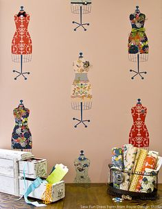 Two fabric lined stencil dress forms decoupaged onto a Vintage Waterfall Dresser
