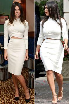 Mittelscheitel, gleiches Cut-out Ensemble in Weiß und trotzdem so unterschiedlich. Julia Restoin-Roitfeld und Kim Kardashian haben sich für den gleichen Look entschieden und für uns ist klar, Julia macht das Rennen. Was sagt ihr?