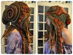 Earth Toned Freeform Crochet Hooded Scarf // Ooak Fiber Art