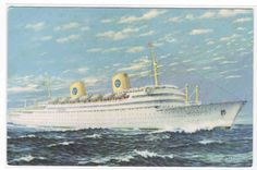 Gripsholm Ocean Liner Ship Swedish American Line postcard. $5.00, via Etsy.