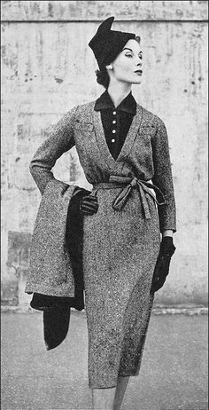 Myrtle Crawford is wearing a Vogue pattern ensemble designed by Lanvin-Castillo, photo by Frances McLaughlin-Gill, Vogue Oct. 1952