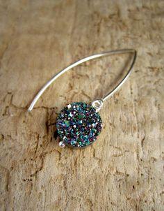 Peacock Druzy Earrings Titanium Druzy Drops by julianneblumlo, $68.00