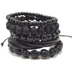 5 Pack Black Out Bracelet Set with Wood, Leather, Resin and Stone... ❤ liked on Polyvore featuring jewelry, bracelets, skull bangle, resin bangle, skull jewellery, skull jewelry and wooden bangles