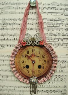 Vintage French Clock Home Decor Shabby Pink by AKAdecorativeart