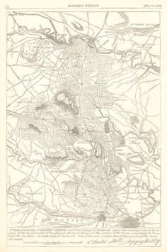 """Map Antique. A Topographical Map of Eastern Virginia from """"Fredericksburg"""" to """"Richmond """".  Harper's Weekly. 1863-05-16. New York.   """"taken from tracings (now in the possession of the Government) of the original raiklroad surveys of this portion of the state, comprising the topography for six miles on each side of the track. ..."""" Shows Chancellorsville, Spottsylvania C.H. Two woodcut views on reverse."""