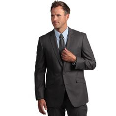 Dress to impress for your next shift with this office-appropriate men's coat from Kenneth Cole Reaction. This slim-fitting grey suit conveys an image of sophistication and flatters many complexions. Multiple pockets make storing your wallet easy.