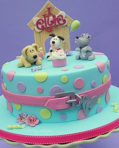 Doggy dog cake for Kids (Rainbow Cake Rectangle)