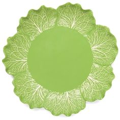 Tory Burch Lettuce Ware Round Platter ($195) ❤ liked on Polyvore featuring home, kitchen & dining, serveware, green, green leaf platters, round platter, green stoneware, leaf platter and tory burch