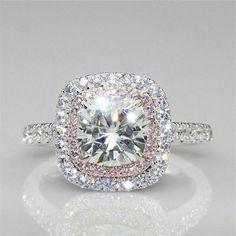 Certified 3.35Ct White Cushion Cut Diamond Halo Engagement Ring 14K White Gold #Bansi #SolitairewithAccents #diamondengagementring