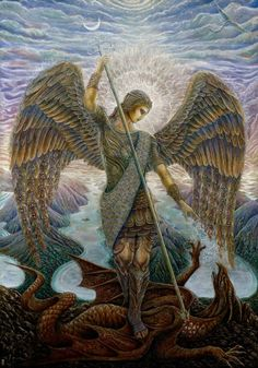 """Archangel Michael by Daniel Mirante. (Archangel Michael is believed to """"remove"""" Fears and Negative Thinking. The sword he carries can slice through negative thoughts and worries and fill the gaps with a warm white light) Angels Among Us, Angels And Demons, Catholic Art, Religious Art, Art Visionnaire, The Seventh Seal, Frida Art, Kunst Online, I Believe In Angels"""