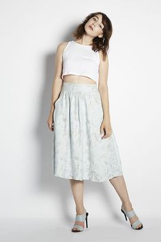 Perfect for Petites | Adela Mei Petite Clothing  Boutique| Floral Jacquard Skirt