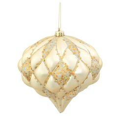 6 Champagne Matte Glitter Diamond Christmas Ornament, Gold