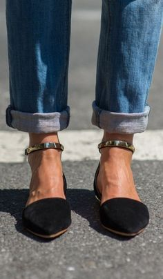 casual friday: crochet lace collared shirt, rolled boyfriend jeans, black blazer, braided hair + gold ankle strap dorsay flats: