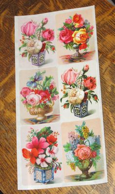 Wonderful new Violette Victorian pink red roses by TheWisdomTree Brand Stickers, Victorian Flowers, Retro Floral, Scrapbook Stickers, Flower Vases, Red Roses, Decoupage, Card Making, Collage