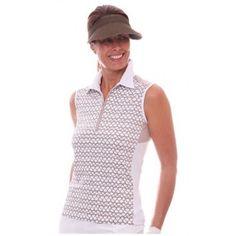 Birdee Sport of Australia Women's Sail Away Sleeveless Golf Polo- Taupe  #birdeesport #golfpolos #sleevelessgolfpolos #patterns #ladiesgolfapparel #ladiesgolfshirts #golftops #sleevelesspolos